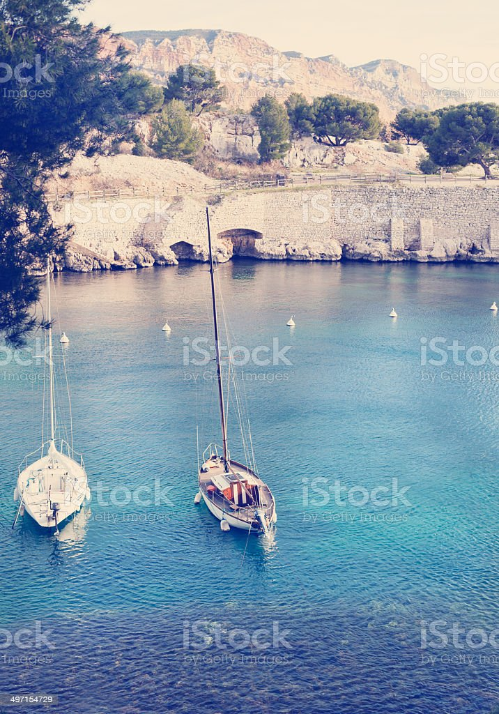 two yachts in the sea bay royalty-free stock photo