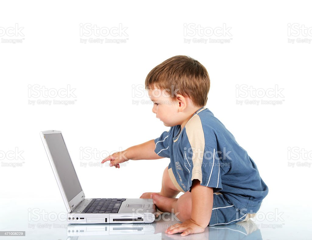 Two Year Baby Pointing a Screen royalty-free stock photo