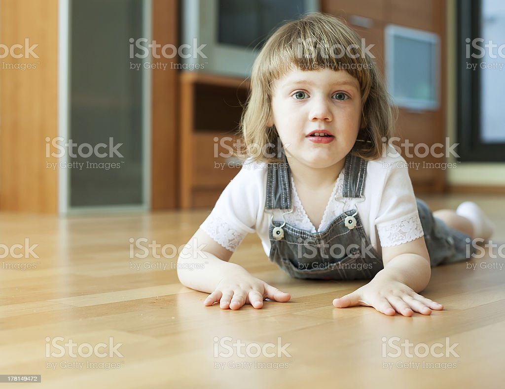 two year child  on parquet royalty-free stock photo