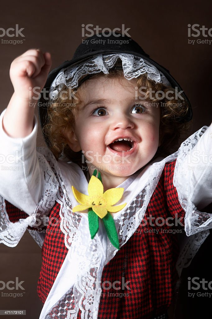 Two year old girl in traditional Welsh costume royalty-free stock photo
