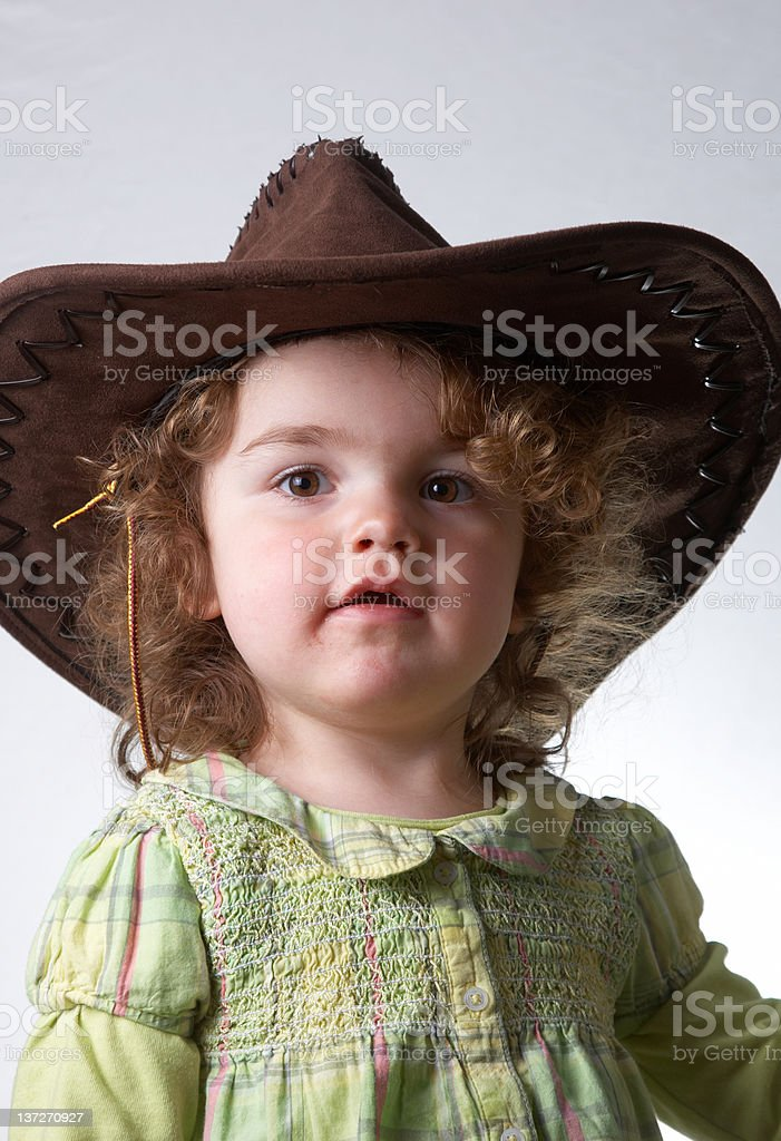 Two Year Old Girl Portrait Wearing Cowboy Hat Stock Photo   More ... e17df4cbc28