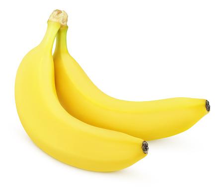istock Two yellow bananas isolated on white 618065252
