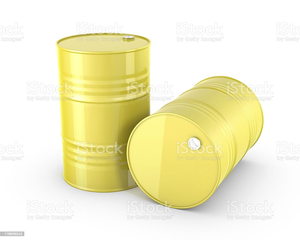Two yellow barrels stock photo