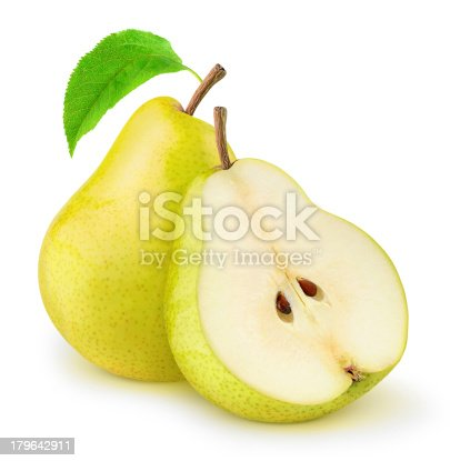Two yellow pears isolated on white.