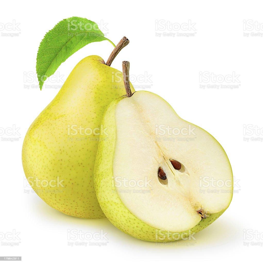 Two yellow pears isolated on white stok fotoğrafı