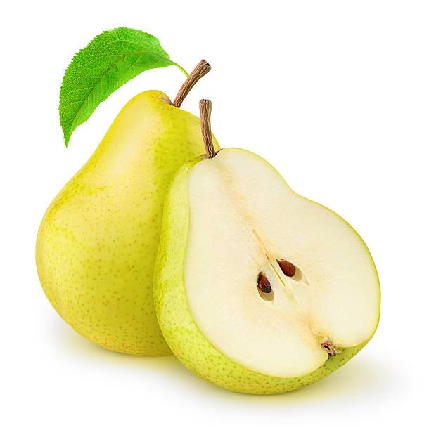 due pere gialli isolato su bianco - pera foto e immagini stock