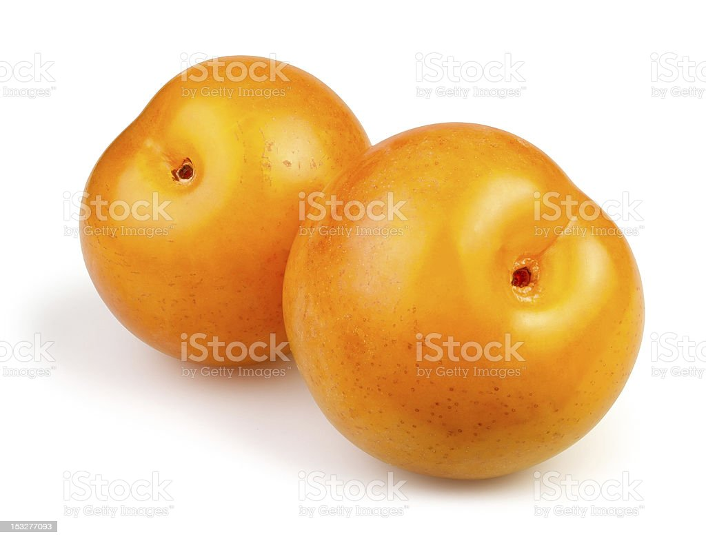 two yellow plums stock photo