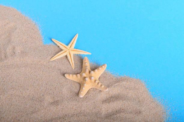 dos estrellas amarillas sobre la arena - foto de stock