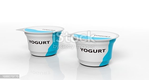 Dairy products. Two yogurts isolated on white background. 3d illustration