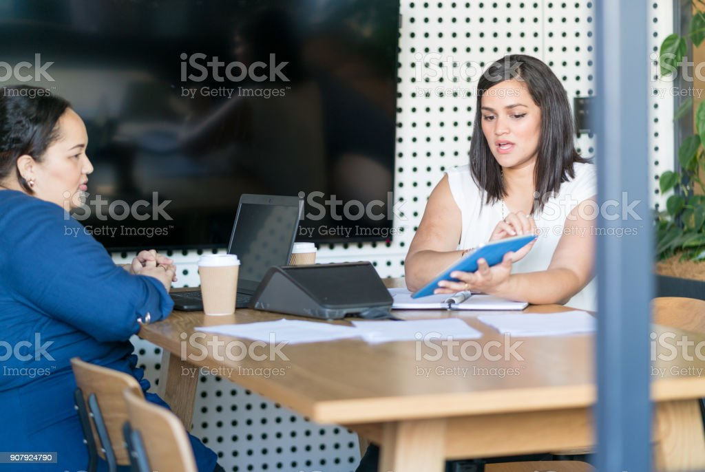 Two young adult Maori businesswomen in open style meeting room stock photo