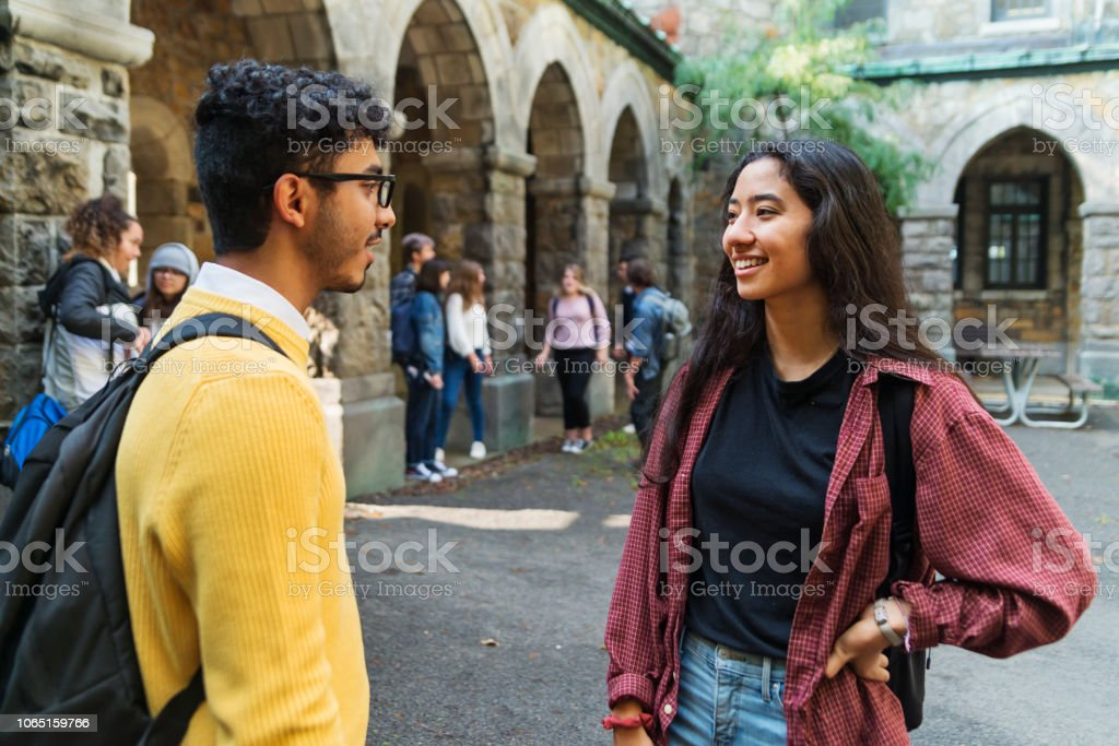 Two young adults students chatting in College entrance. stock photo