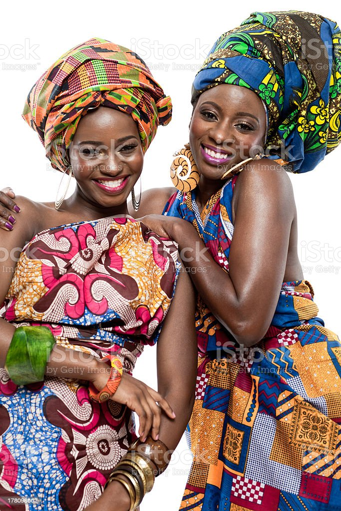 Two young African fashion models. stock photo