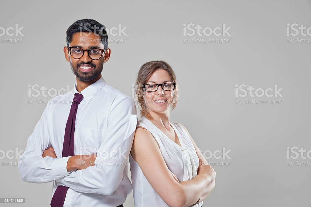 Two young business professionals. stock photo