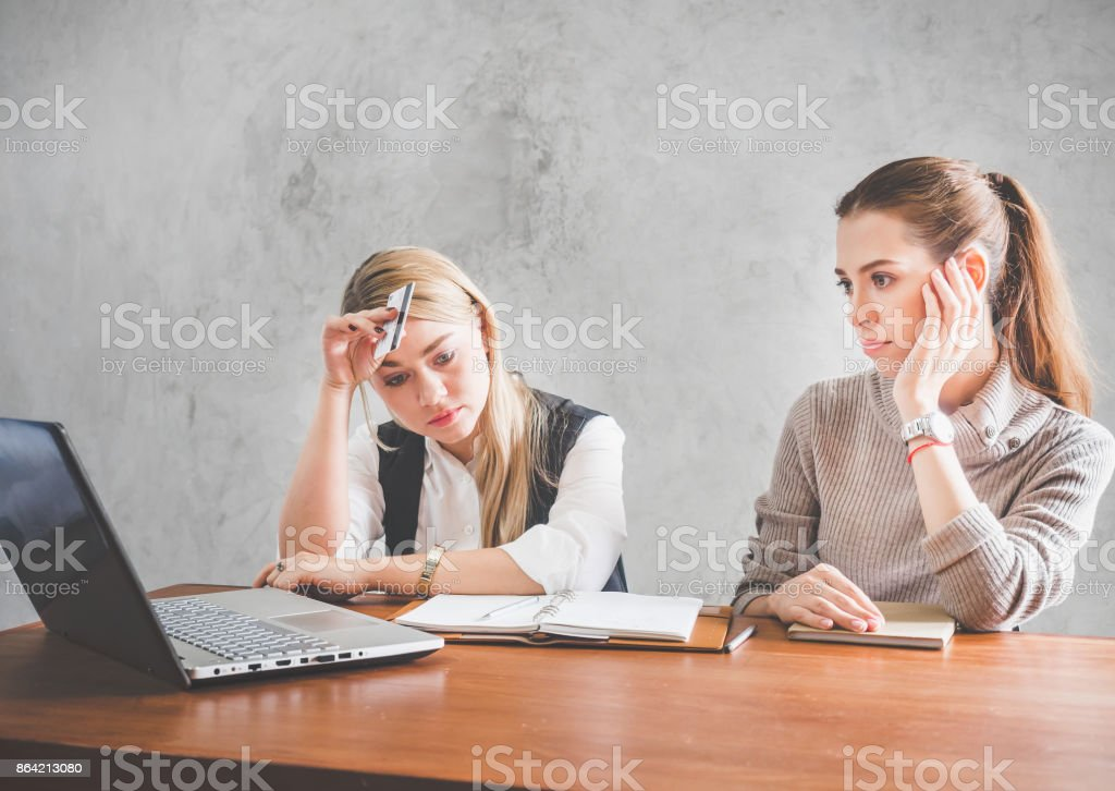 Two young caucasian business woman feeling stressed, upset, depress during working in office royalty-free stock photo