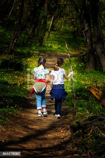 istock Two young children, girls walking through the woods 944479060