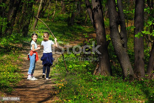 515278306 istock photo Two young children, girls walking through the woods 946748884