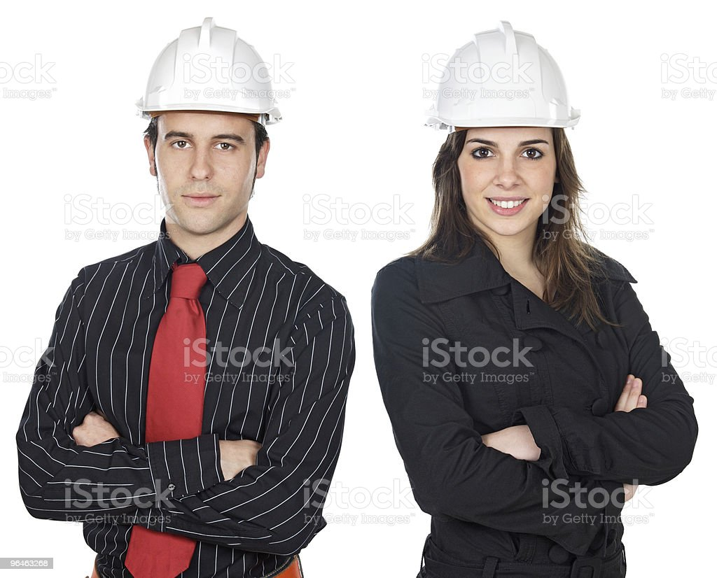 Two young engineers royalty-free stock photo