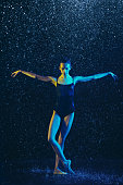 istock Two young female ballet dancers under water drops 1146479046