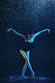 istock Two young female ballet dancers under water drops 1146479047