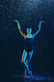 istock Two young female ballet dancers under water drops 1146479056
