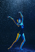istock Two young female ballet dancers under water drops 1146479060
