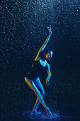 istock Two young female ballet dancers under water drops 1146479583