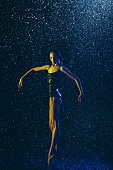 istock Two young female ballet dancers under water drops 1146479597
