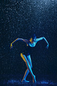 istock Two young female ballet dancers under water drops 1146479601
