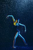 istock Two young female ballet dancers under water drops 1146479605