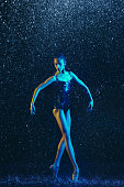 istock Two young female ballet dancers under water drops 1146479606