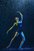 istock Two young female ballet dancers under water drops 1146479616