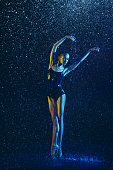 istock Two young female ballet dancers under water drops 1146479621