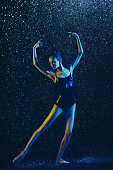 istock Two young female ballet dancers under water drops 1146479628