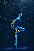 istock Two young female ballet dancers under water drops 1146479632