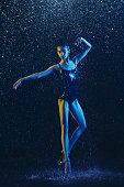istock Two young female ballet dancers under water drops 1146479638