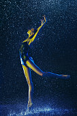 istock Two young female ballet dancers under water drops 1146479685
