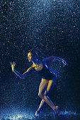 istock Two young female ballet dancers under water drops 1146479686