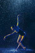 istock Two young female ballet dancers under water drops 1146479692