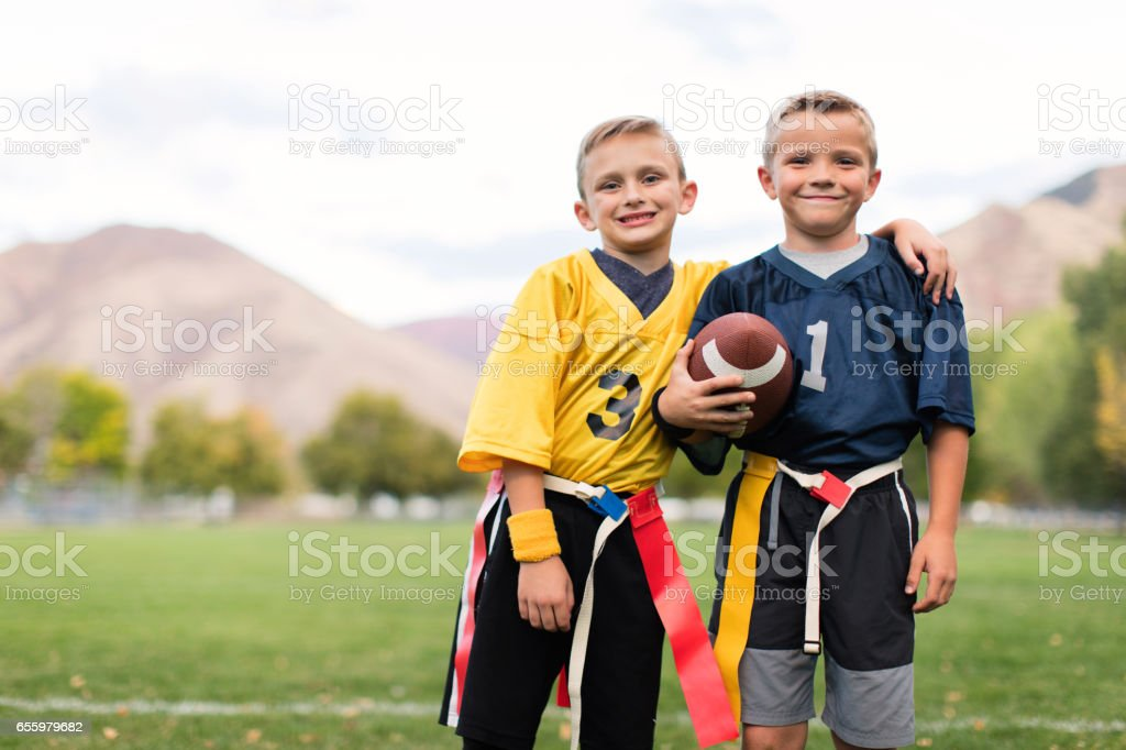 Two Young Flag Football Players stock photo