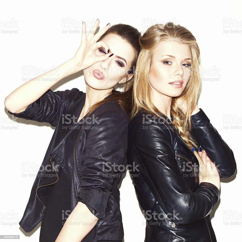 Two young girl friends stock photo