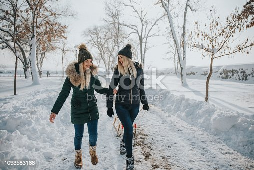Two young girls are having fun in the snow and winter games.