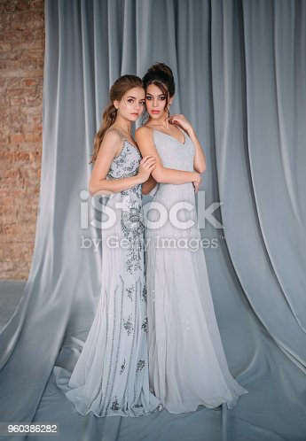 istock Two young girls in gray, long, shining, evening dresses with rhinestones and stones. The image of schoolgirls at the prom. Festive make-up nudes and smokies eyes. High, collected hairstyles. 960386282