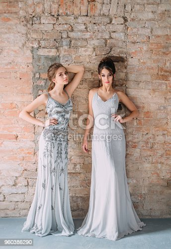 istock Two young girls in gray, long, shining, evening dresses with rhinestones and stones. The image of schoolgirls at the prom. Festive make-up nudes and smokies eyes. High, collected hairstyles. 960386290
