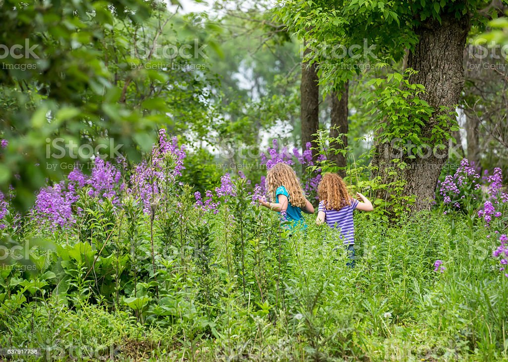 Two Young Girls Walking Through Woods stock photo