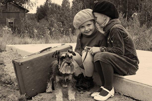 due giovani ragazze con cane alla fermata dell'autobus - donna valigia solitudine foto e immagini stock