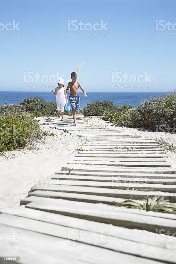 Two young kids with nets walking on a path royalty-free stock photo