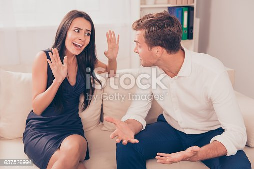 istock Two young lovers quarreling because of disagreements 637526994