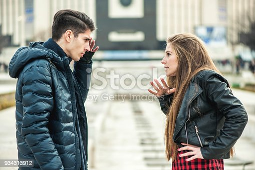 969532194 istock photo Two young lovers quarreling because of disagreements 934313912