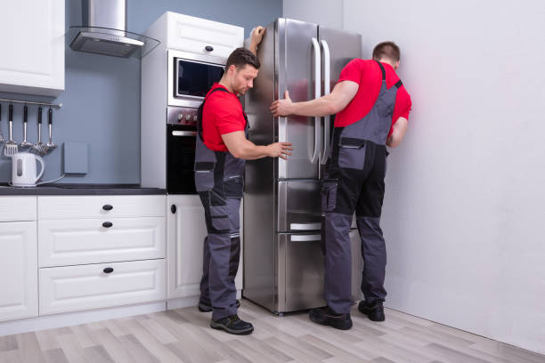 Two Young Male Movers Placing Steel Refrigerator In Kitchen stock photo