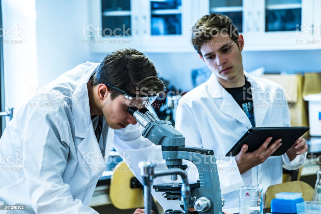 Two young male scientist working on science research in laboratory stock photo